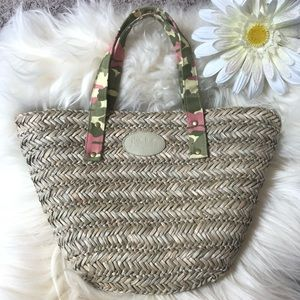 Neiman Marcus Camo Straw Summer Bag